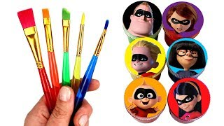 Drawing and Painting  Incredibles  with Surprise Toys Jack-Jack Violet Dash Elastigirl Frozone Toys