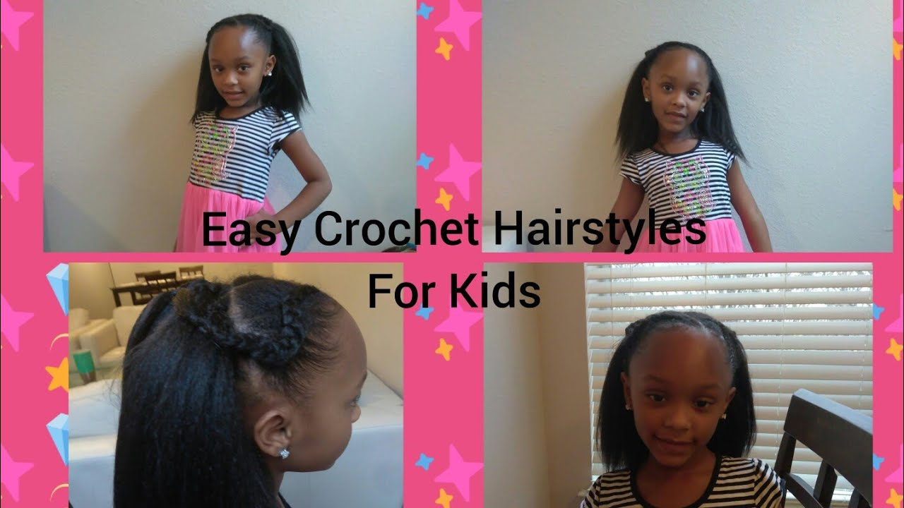 Quick Easy Crochet Braids Hairstyle For Kids Half Up Half Down Style Youtube