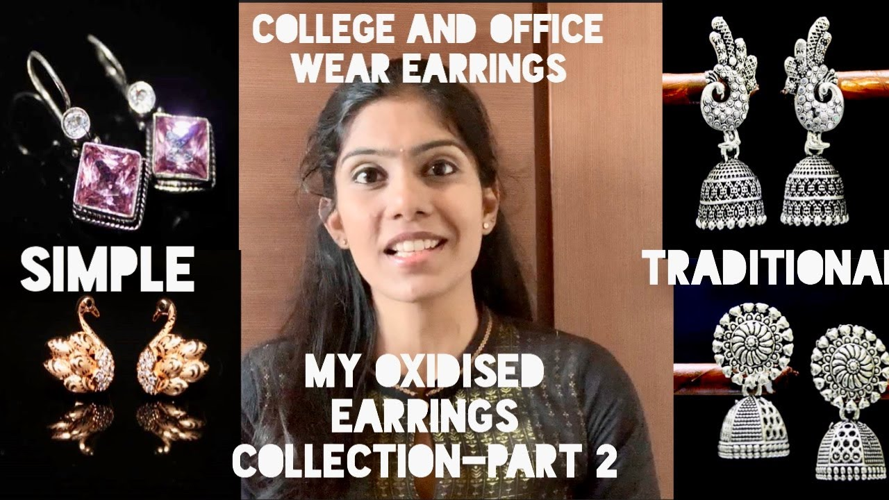 College and office wear oxidized earrings collection part-2|Simple and traditional earrings|Ramya.
