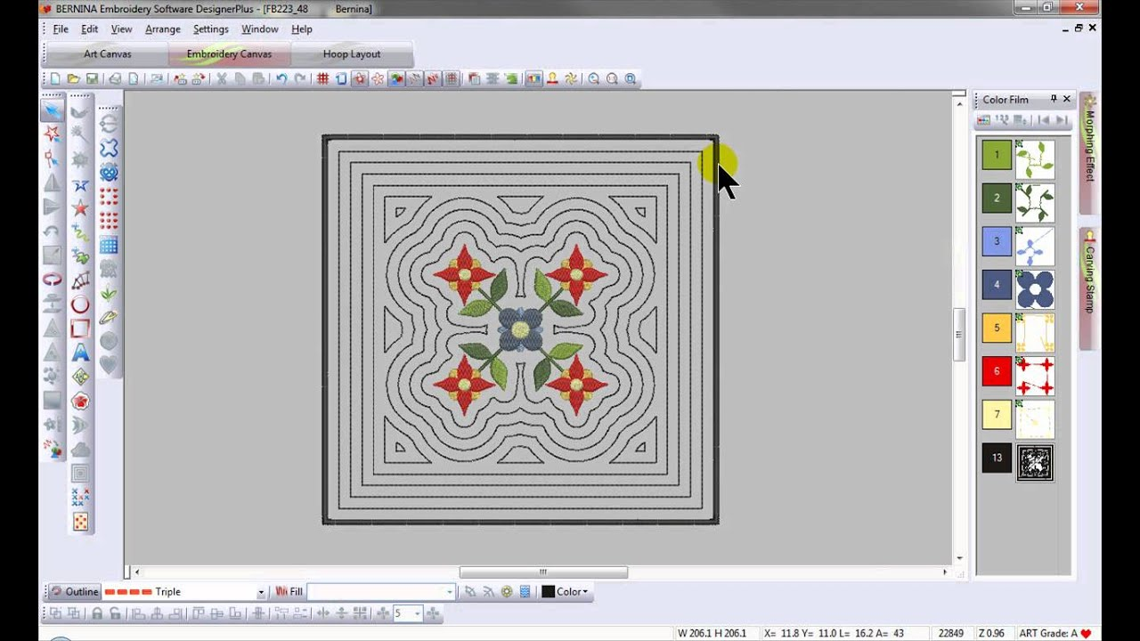 Bernina Embroidery Software 6 Outline Design Tool Tip 3 Youtube