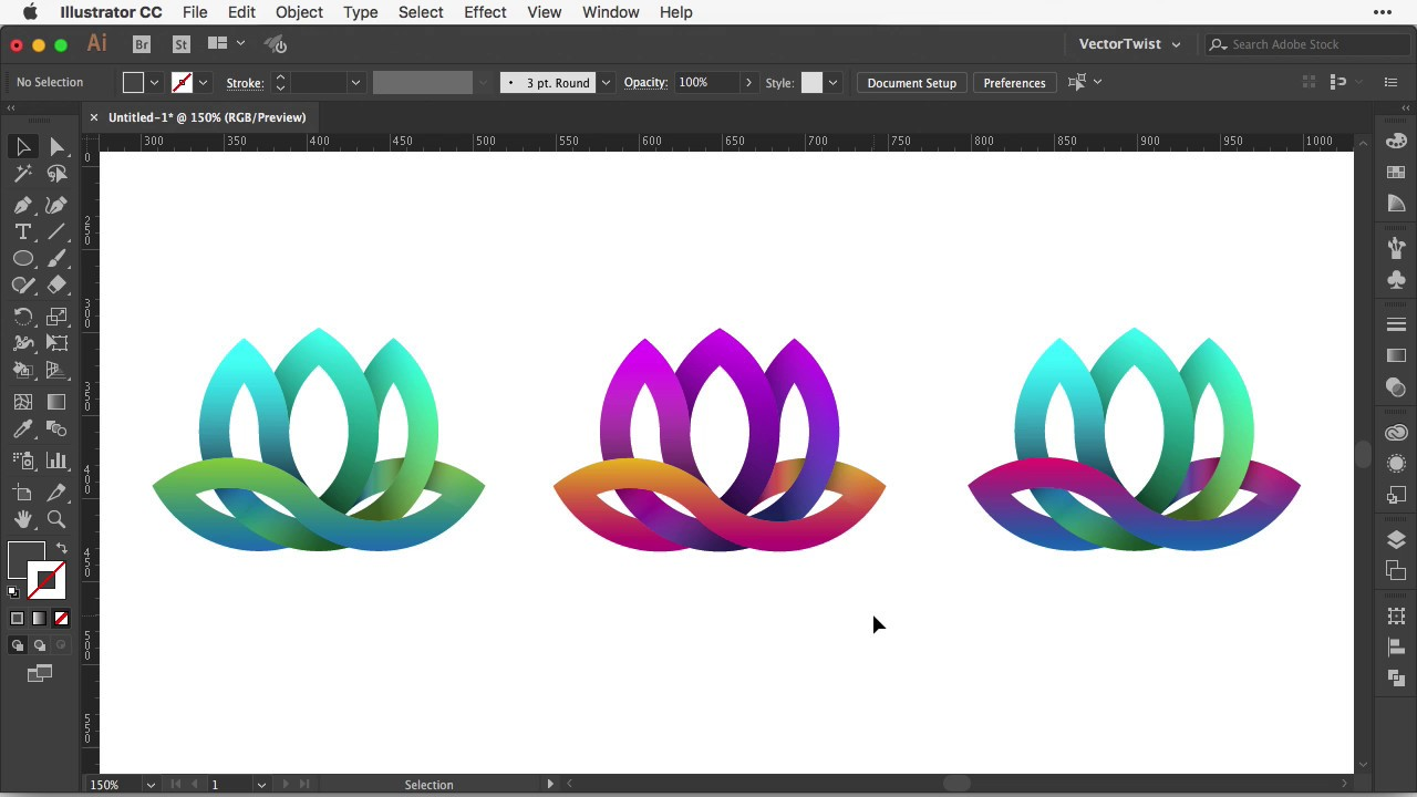 How To Create A Logo In Illustrator Lotus Flower Youtube