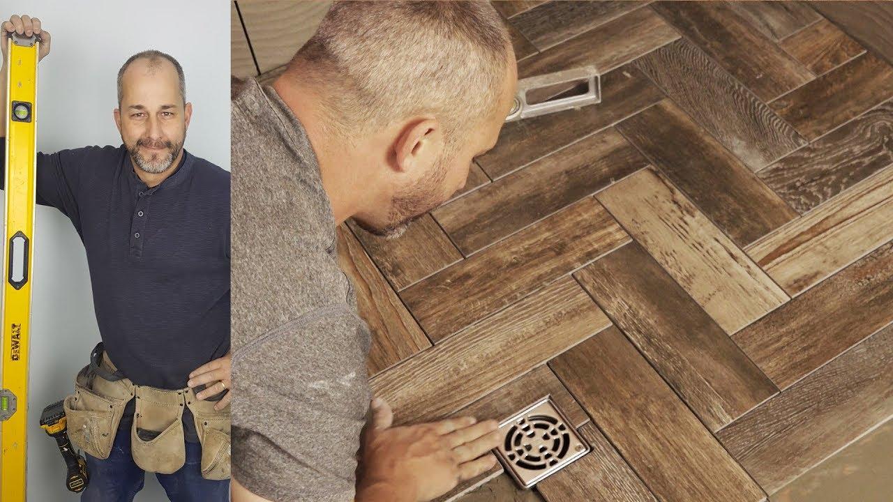 How To Install A Herringbone Tile Shower Floor - YouTube