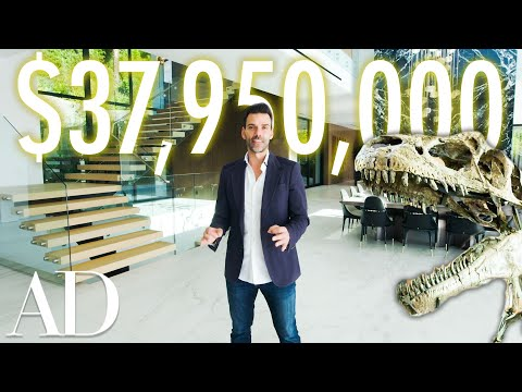 Inside a $38M Beverly Hills Mansion With a 150M Year-Old Dinosaur Fossil | On The Market