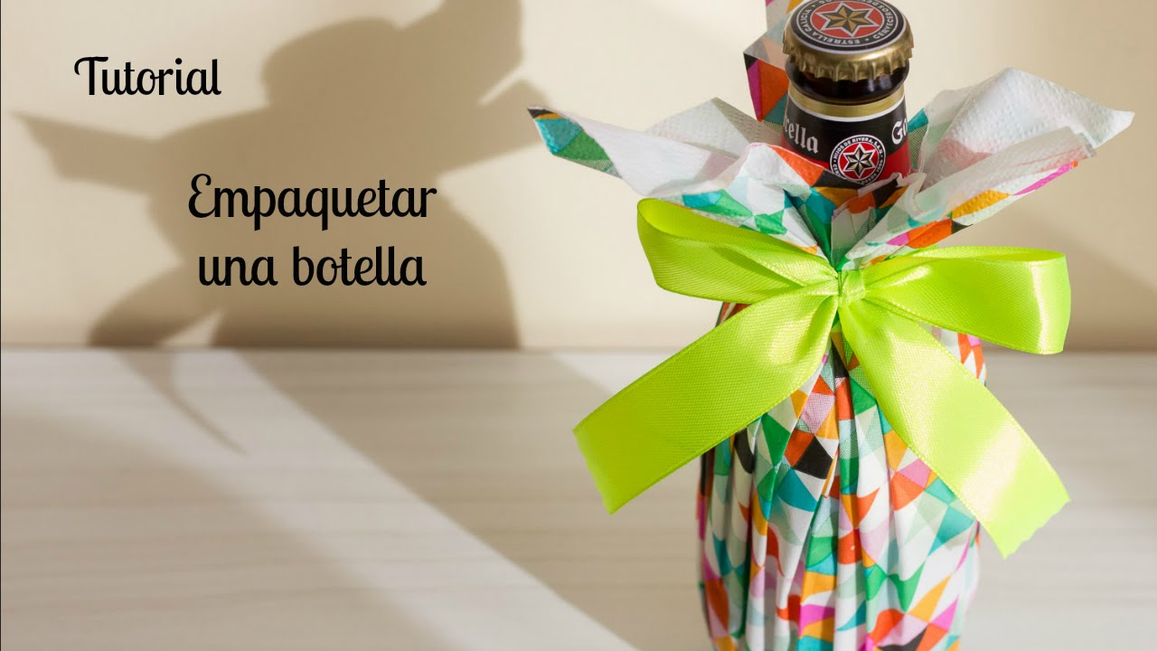 C mo envolver botellas para regalar y decorar fiestas for Decorar regalos