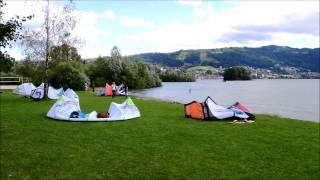 Windsurfing and kite surfing on Lake Zug, Switzerland
