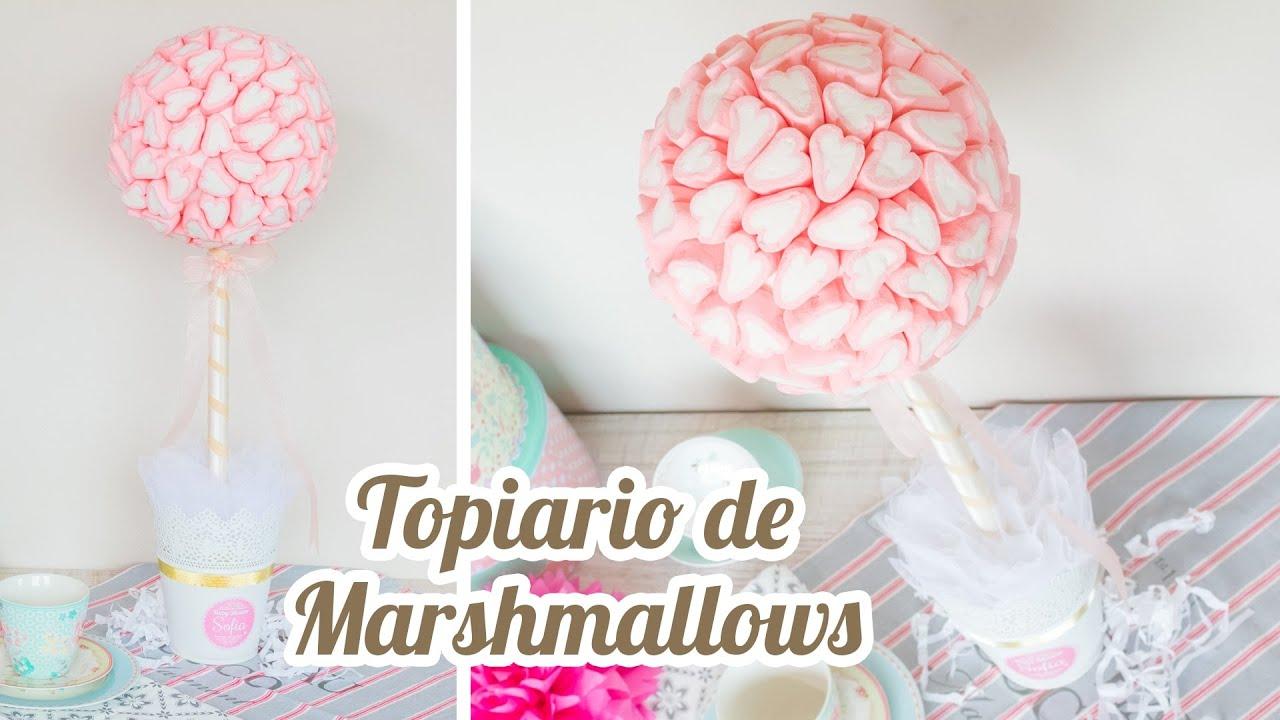 Topiario de marshmallows coraz n 10 mesa dulce para baby shower quiero cupcakes youtube - Ideas para decorar mesas de chuches ...