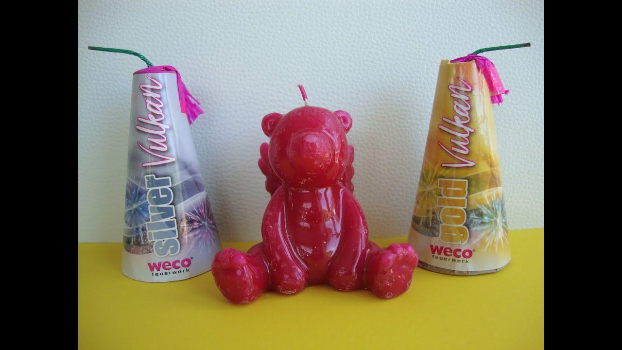 Teddybär-Kerze mit Vulkan anzünden