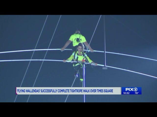 Watch: Nik and Lijana Wallenda walk high wire over New