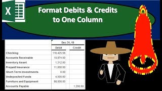 Format Debits & Credits  to One Column In Excel Worksheet