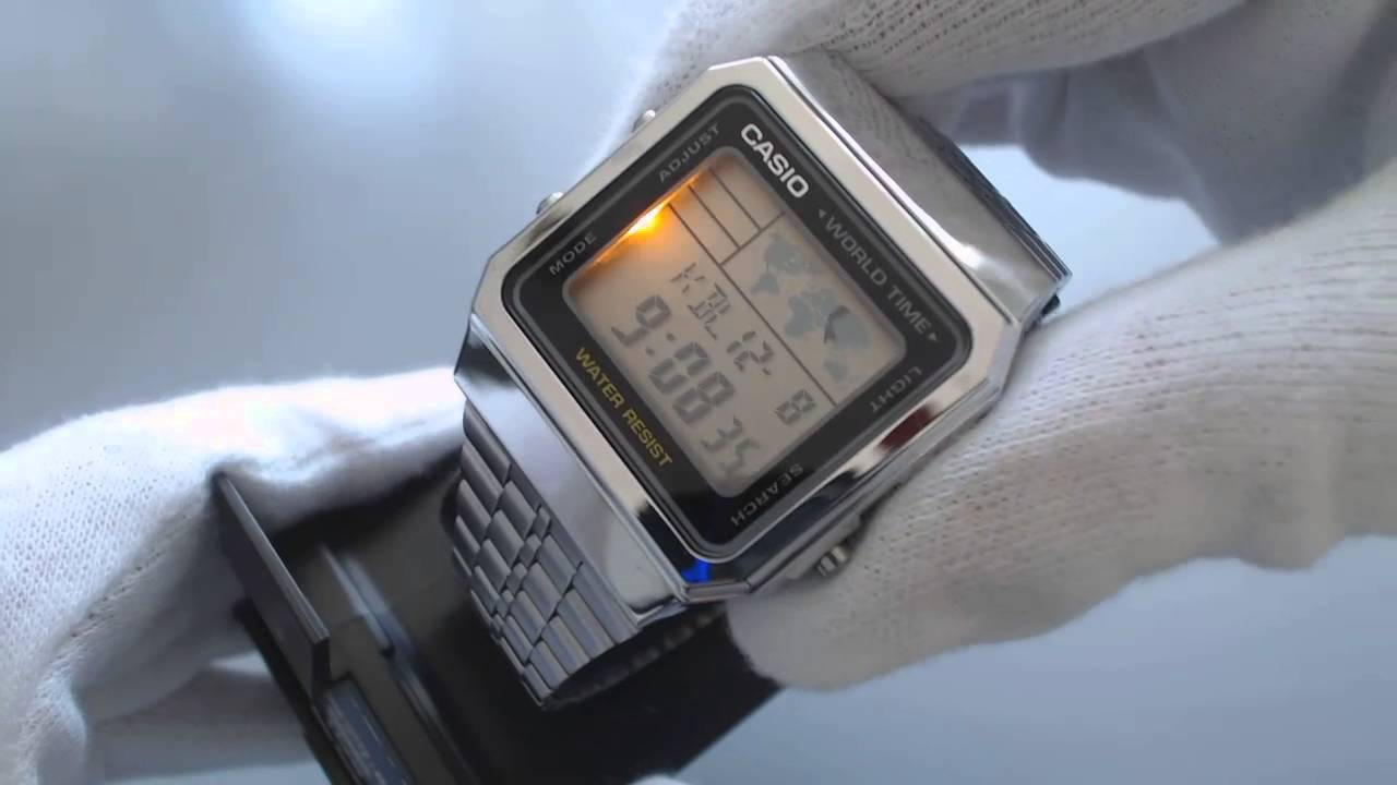 fa2dfdfaae101 Men s Casio World Time Stainless Steel Watch A500WA 1 - YouTube