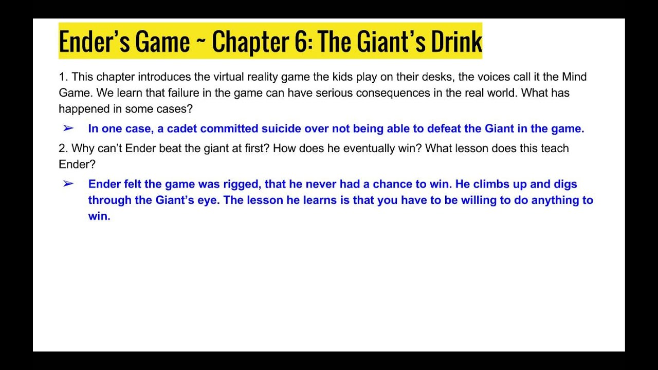 Enders Game Ch 5 6 Study Guide Notes Youtube