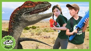 Mystery Dinosaur Egg at T-Rex Ranch! Jurassic Adventure with Raptor Dinosaurs for Kids! Pretend Play