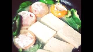 Жареные помидоры с перцем и тофу
