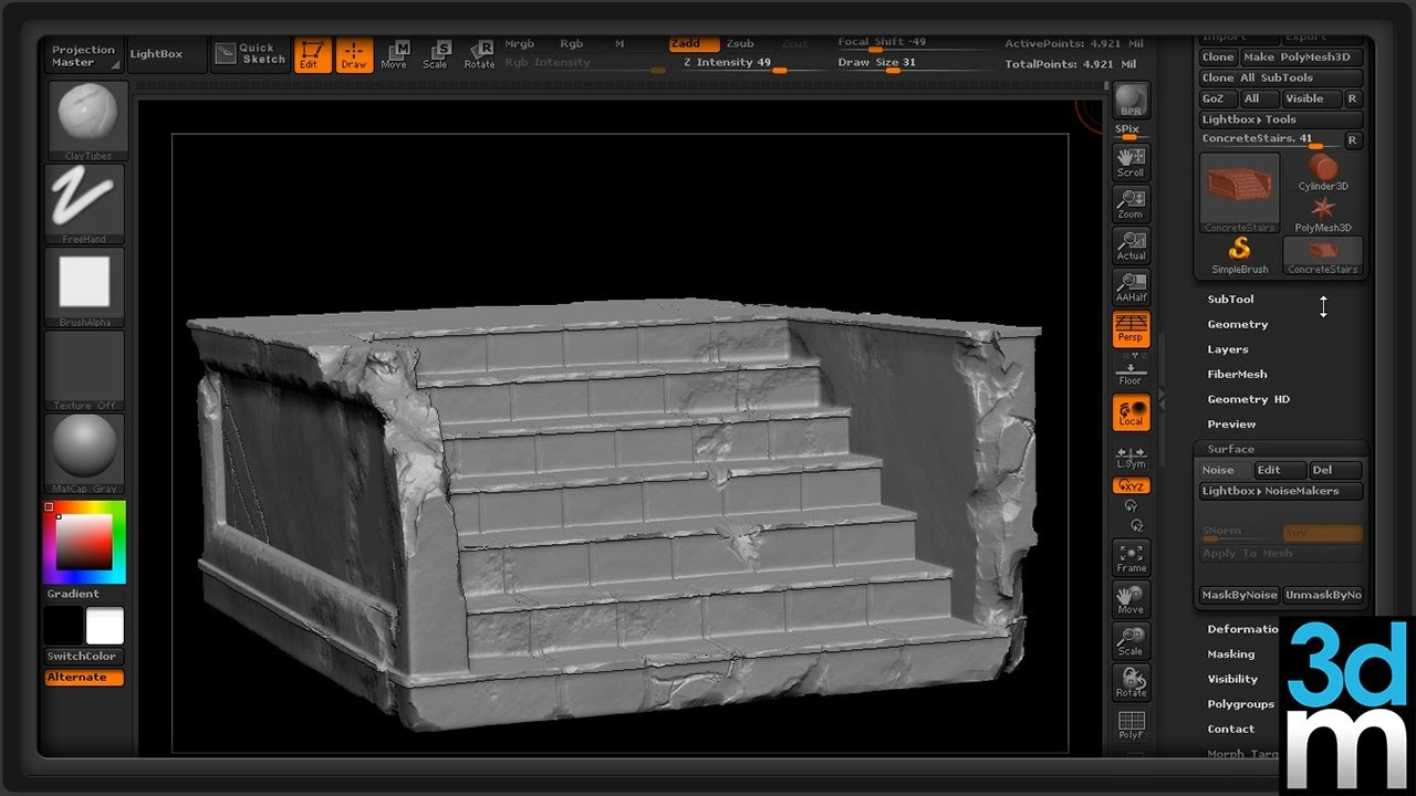 Using Zbrush To Create Quick Quot Beat Up Quot Edges And Cracks