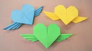 Hướng dẫn gấp hình trái tim có cánh - Origami Heart with wings - Nghệ thuật xếp giấy