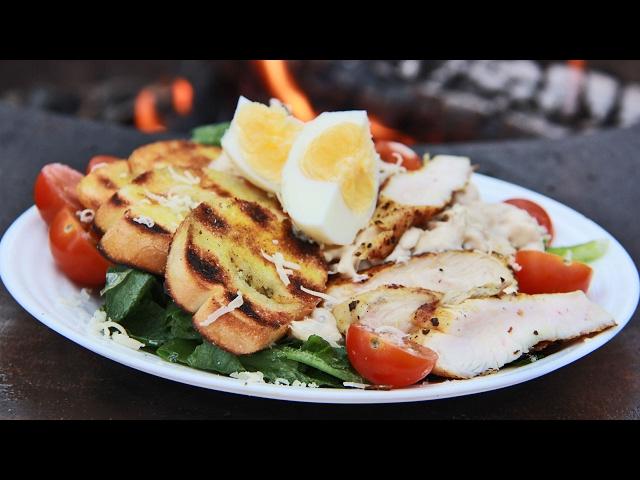 Салат цезарь с курицей-гриль (упрощенный) | Гриль рецепт в Сокольниках 🔥🔥🔥
