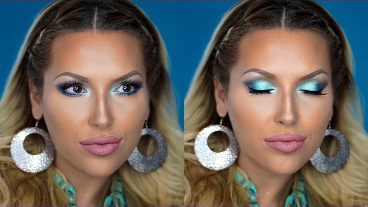 Mermaid Teal Foiled Look Makeup Tutorial Youtube Beauty Creations Cosmetics 35 Pro Palette Ilena