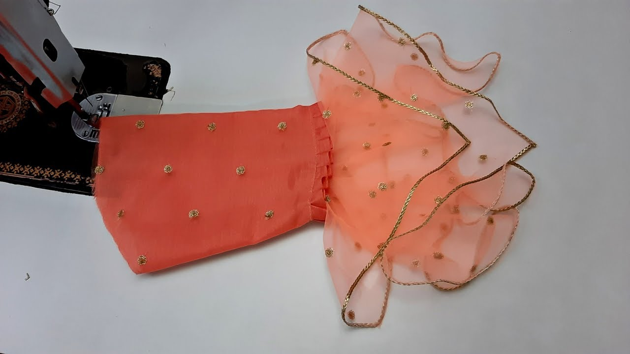 New Stylish Net Fabric Sleeves Design Cutting And Stitching Youtube