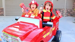 One of BeAHeroKids's most viewed videos: Emrick & Elias Ride The POWER WHEEL Ride On Fire Engine For KIDS | Real Life BeAHeroKids Toy Review