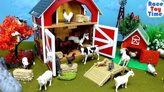 Farm Animals Surprises in the Barn - Fun Animal Toys video For Kids