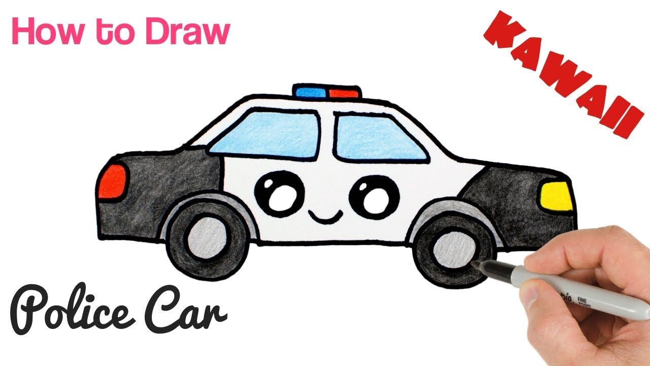 How To Draw A Police Car Cartoon And Easy For Kids Mister Brush