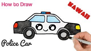 How to Draw a Police Car Cartoon and Easy for Kids | Mister Brush