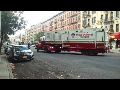 Second Attempt At Placing FDNY SOC D37 Trailer Inside Quarters In Harlem, New York