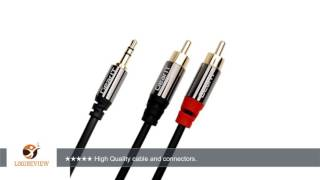 GearIt 3.5mm Male to 2 RCA Male Adapter Stereo Audio Cable (25 Feet / 7.5 Meters) - Gold Plated -