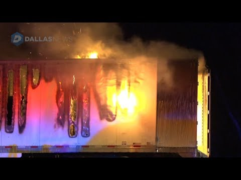 Scene of 18-wheeler full of paper catching fire on Interstate 20 in Terrell