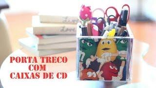 Porta Treco feito com Caixa de CD por Show de Artesanato