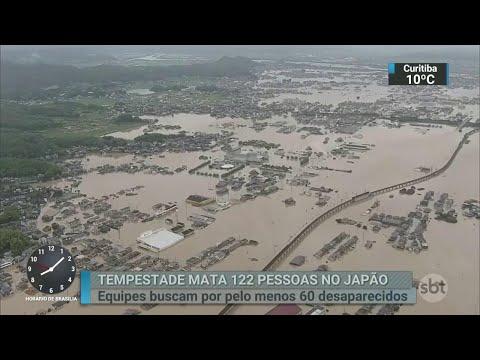 Enchentes e deslizamentos de terra matam 114 pessoas no japão | SBT Brasil (09/07/18)