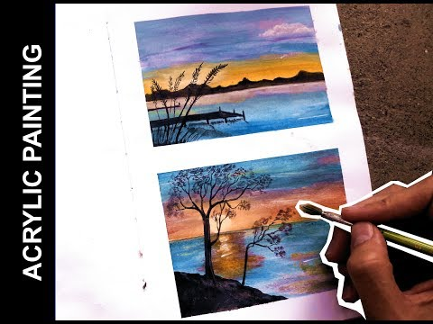two easy landscape paintings with acrylics | sunrise
