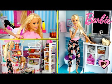 Barbie Dreamhouse Morning Routine - Grocery Shopping & New Hair Cut in Beauty Salon