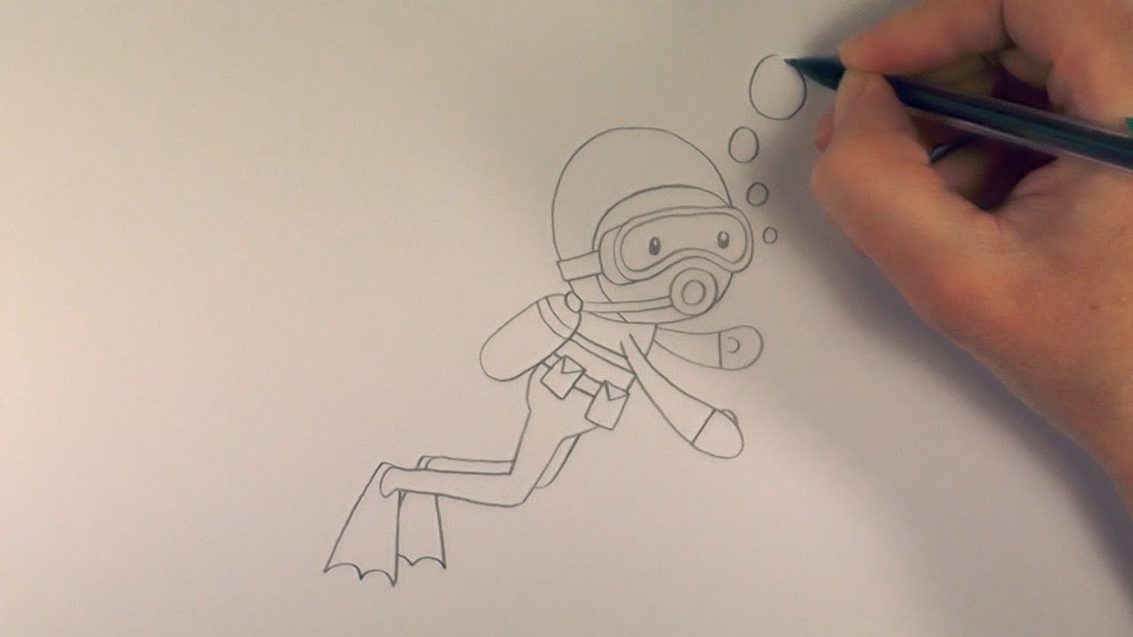 It's just an image of Soft Scuba Diver Drawing