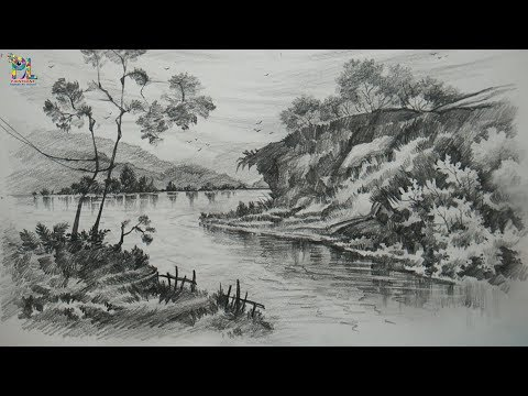Learn Drawing And Shading Landscape Art With Pencil