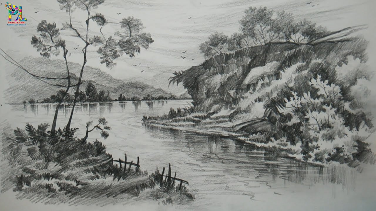 Learn drawing and shading a landscape art with pencil pencil art pencil sketching
