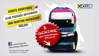 Raiffeisen Club OÖ Vorteile und Burton Rucksack holen.