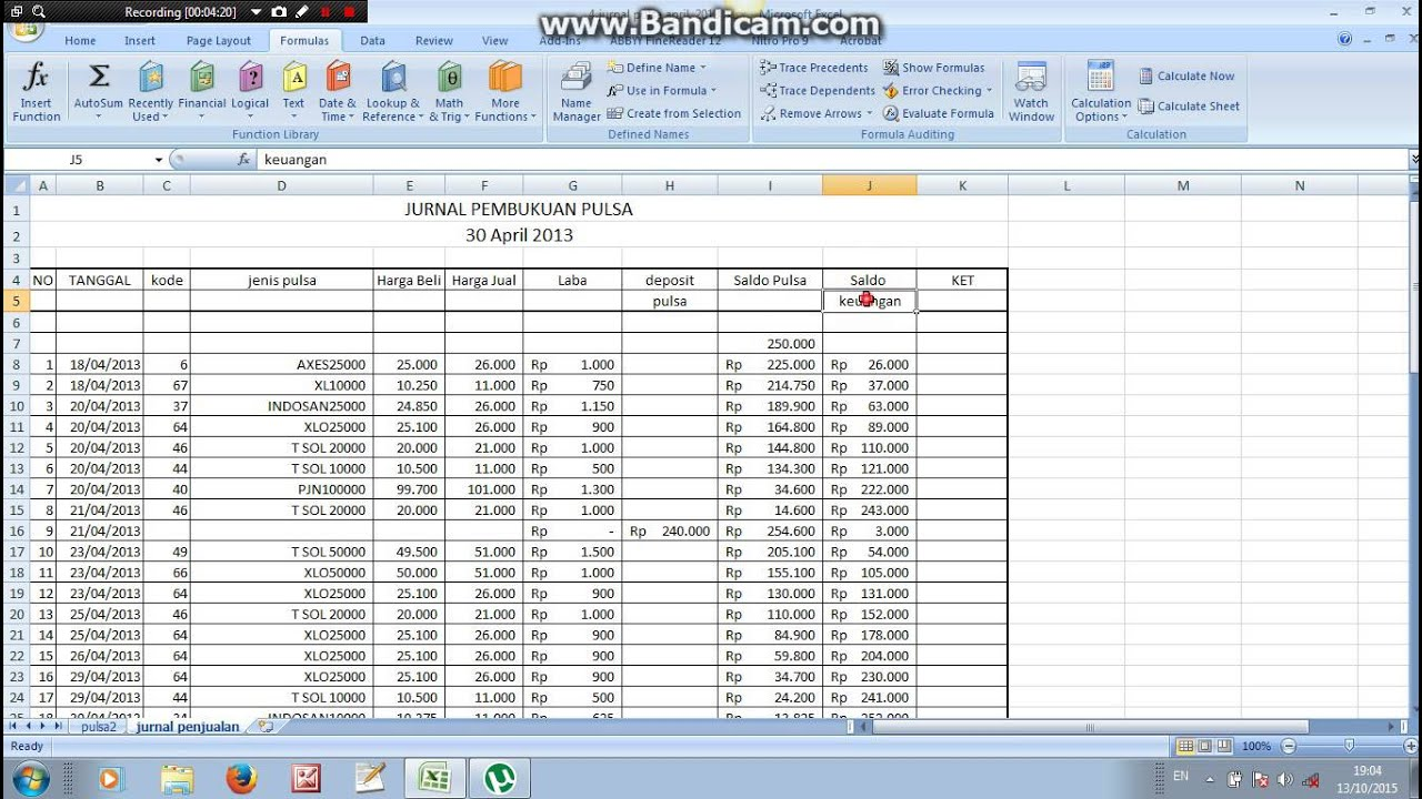 Pembukuan Pulsa Sederhana Dengan Ms Excel Part 1 Youtube