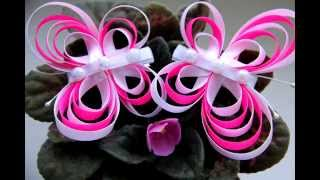 ❀ Заколки бабочки из лент  МК /  Barrettes butterfly ribbon  ❀