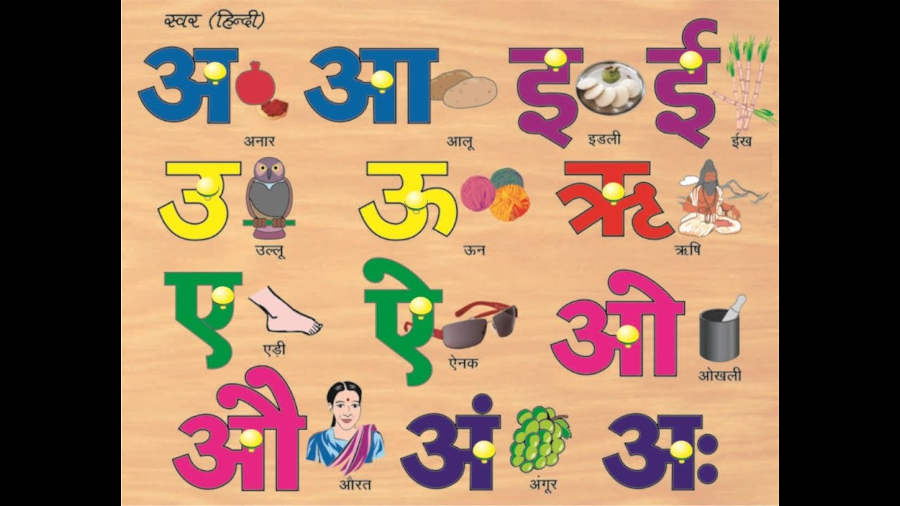 Hindi Swar With Pictures Hindi Alphabets Akshar Mala Or Hindi