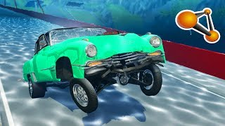 BeamNG.Drive - High Speed Car water Diving Crashes