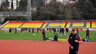Сборная России провела последнюю тренировку перед вылетом на игру с Мальтой