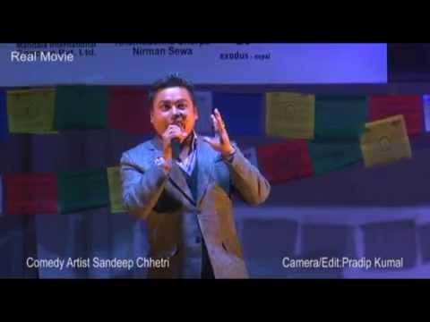 sandip chhetri comedy artist संदिप क्षेत्री || Nepal Army officers Club || Sherpa Losar Shanjha 2142