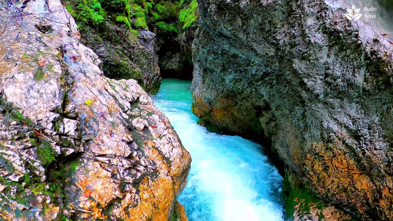 Calming Mountain Turquoise river Flowing sounds (4k). 10 hours White (Brown) Noise for Sleeping