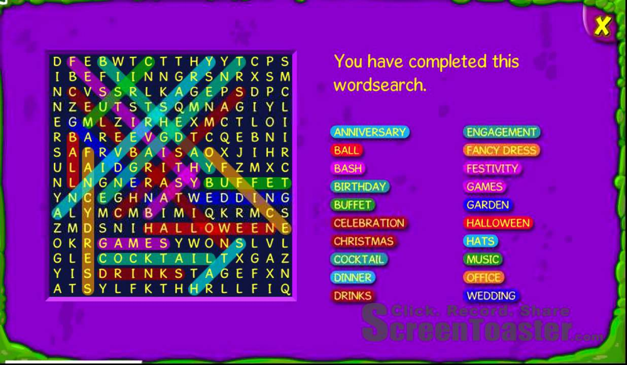 bws celebrity party wordsearch - YouTube