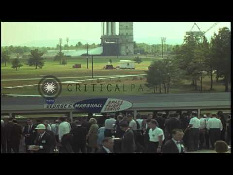 President Kennedy and party watch test firing of Saturn Rocket at George C Marsha...HD Stock Footage