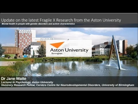 Assessing Anxiety in Fragile X Syndrome: Research Update, Dr Jane Waite