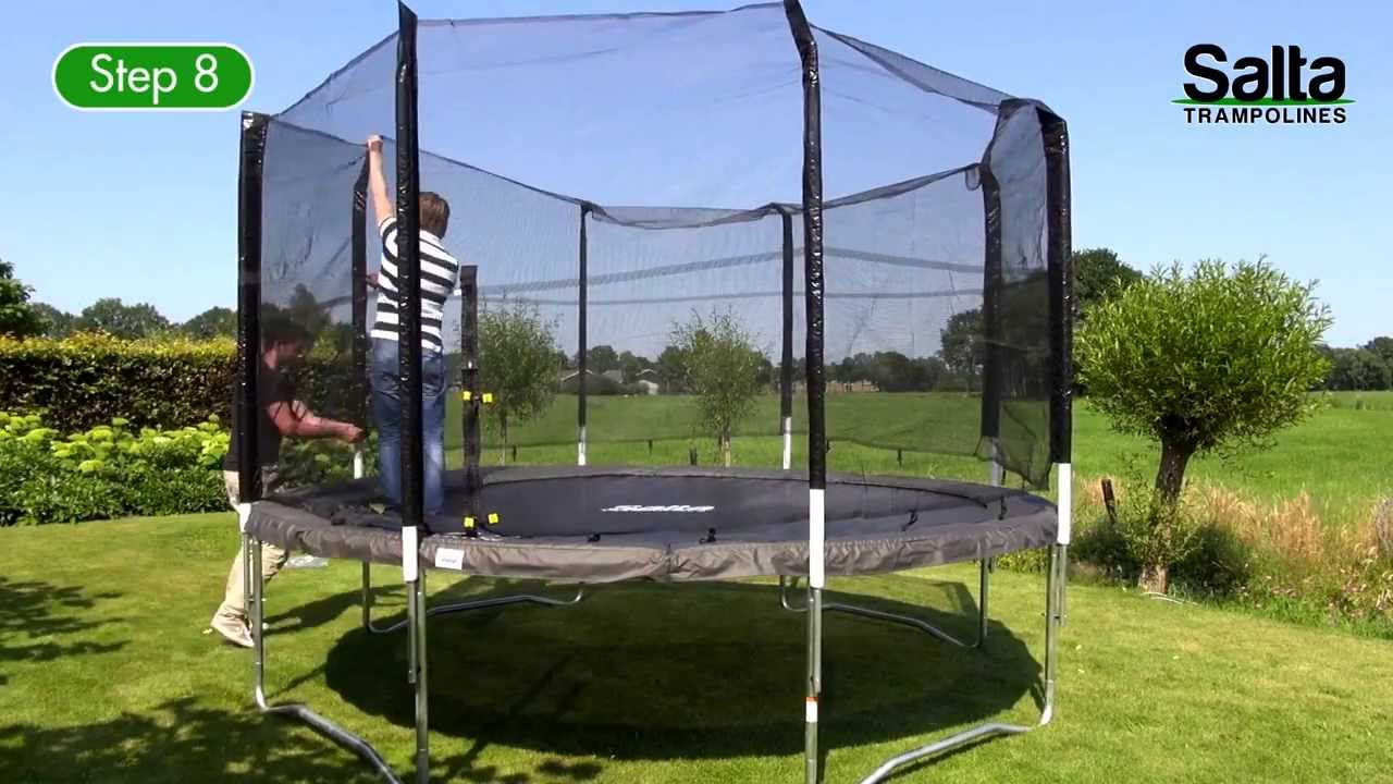 salta ronde trampoline met veiligheidsnet opbouwinstructies youtube. Black Bedroom Furniture Sets. Home Design Ideas