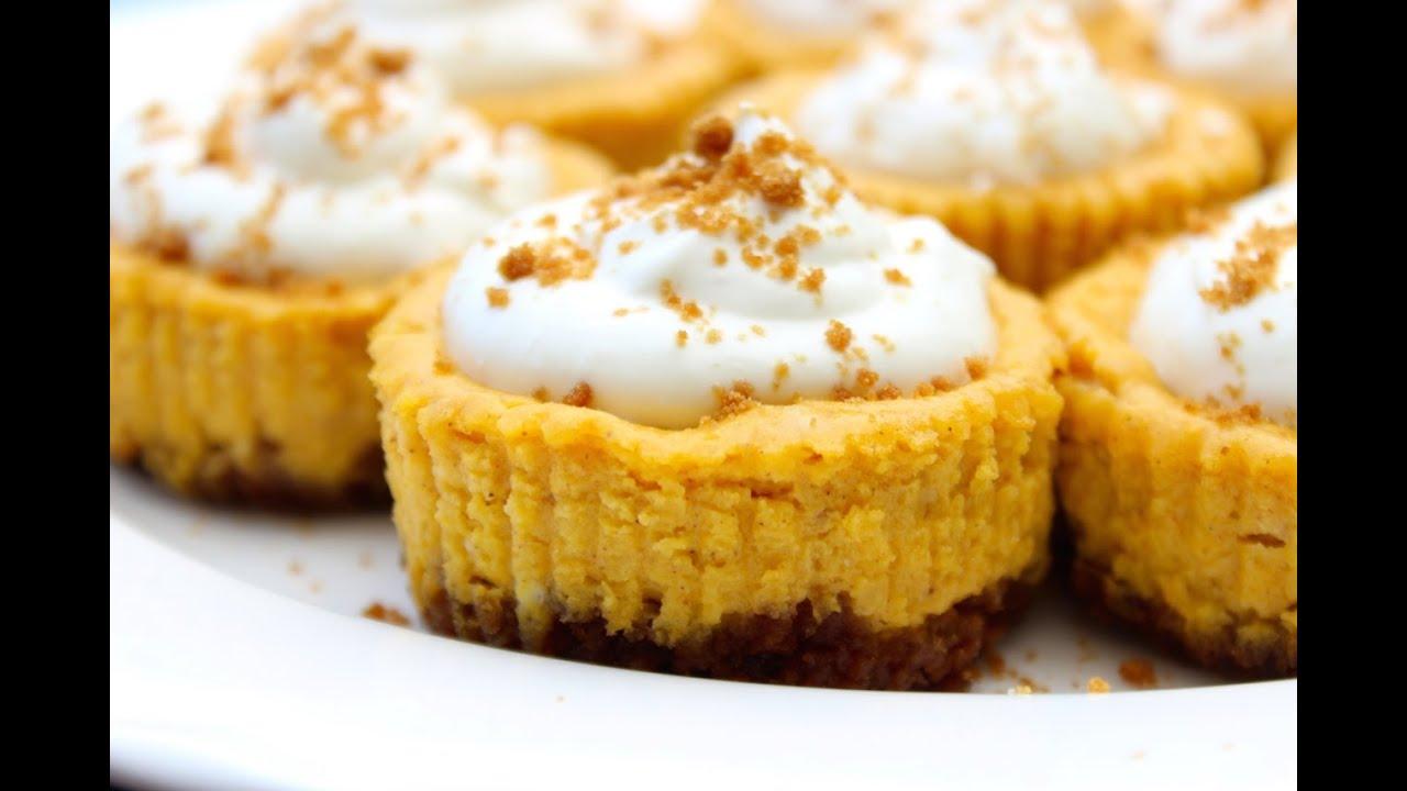 Mini Pumpkin Cheesecakes | My Baking Addiction  |Mini Pumpkin Cheesecake Bites