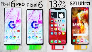 Google Pixel 6 Pro / Pixel 6 vs iPhone 13 Pro Max vs S21 Ultra - Battery Drain Test